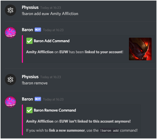 Baron - lol discord bot baron profile                                    Summarized profile