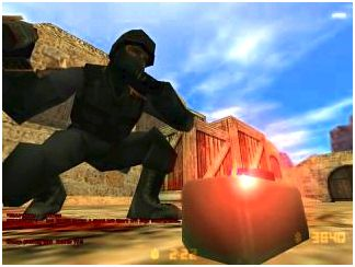 A Counter-Terrorist defusing a bomb in an early beta version of Counter-Strike.