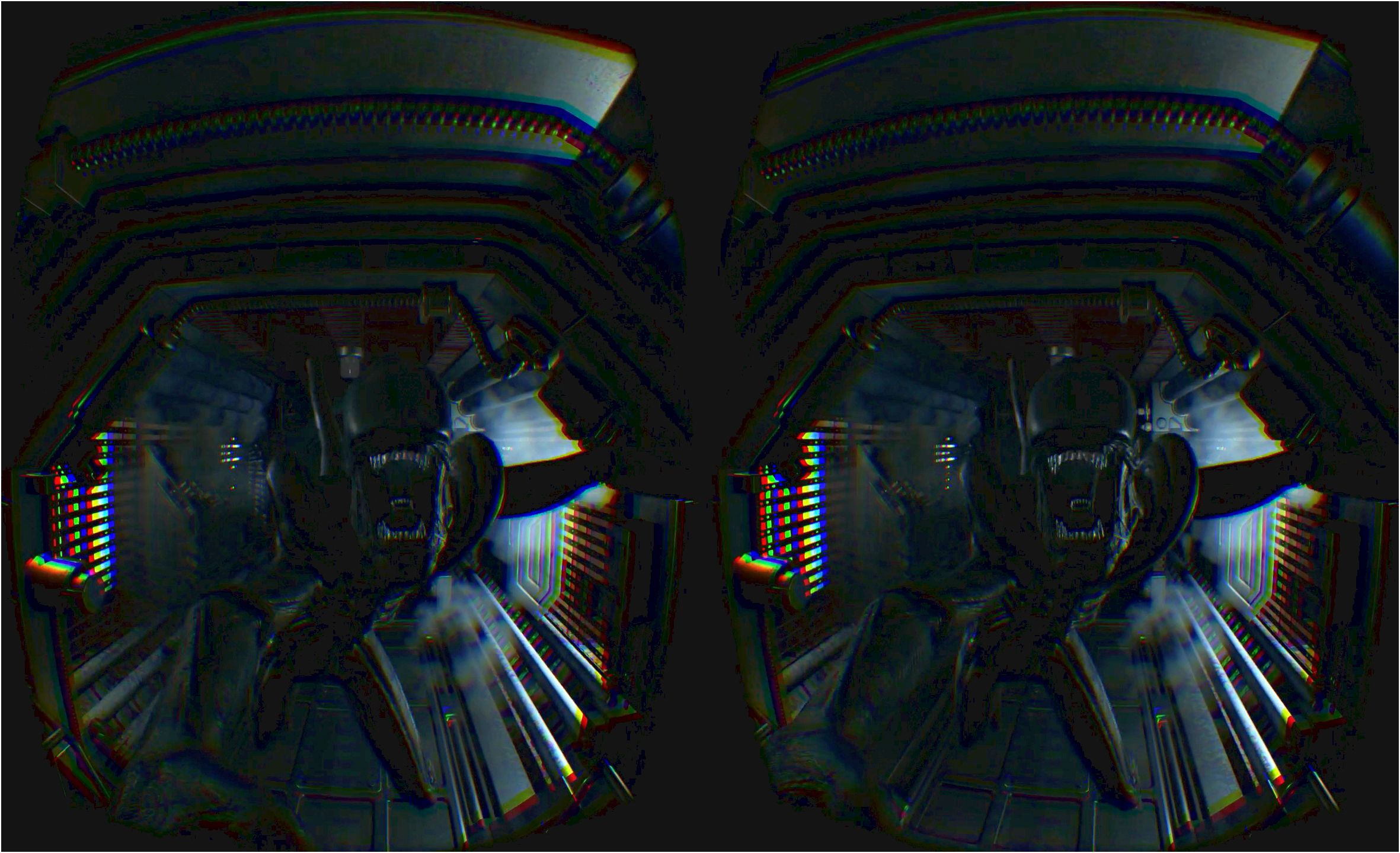 How you can enable oculus rift mode in alien: isolation shimmery effects only rendering