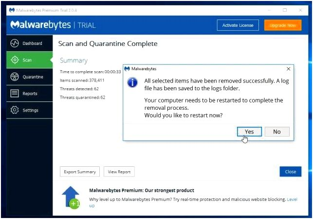 Malwarebytes removing malware from computer