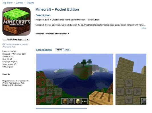 Minecraft: pocket edition around the application store the finish